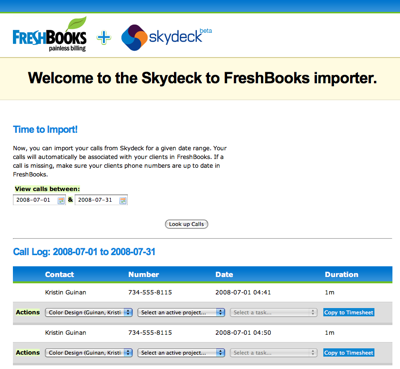 FreshBooks now uses Skydeck to turn your cell phone calls from your clients into time tracking entries.