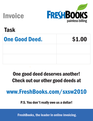FreshBooks One Good Deed Invoice