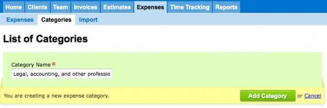 List of Expense Categories - FreshBooks