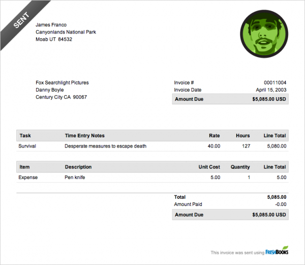 James Franco invoice - 127 hours