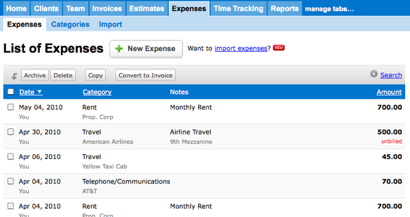 List of Expenses - Taxes - FreshBooks