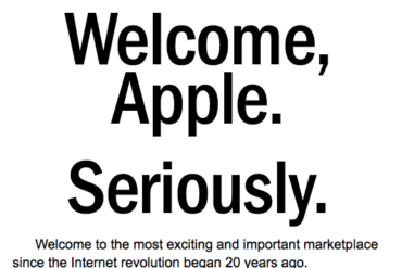 Welcome, Apple. Seriously.