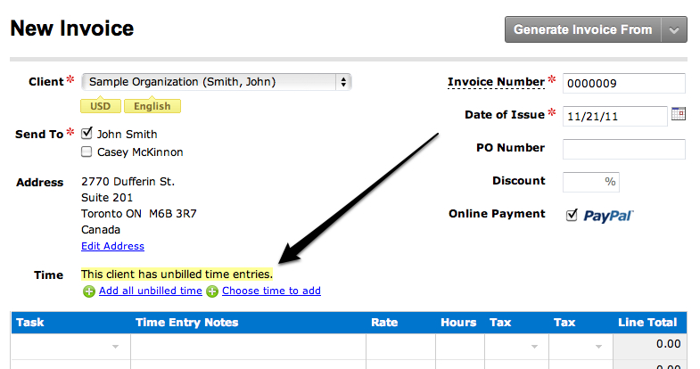 Adding time to an invoice