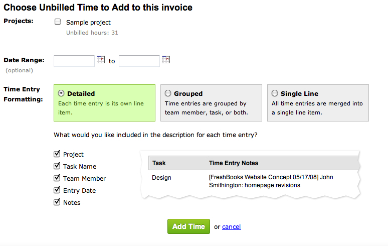 Time formatting options on an invoice
