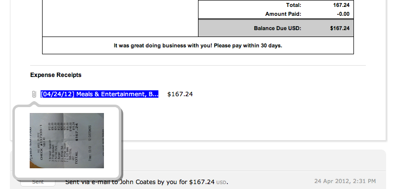 Attached Receipt - FreshBooks Invoice