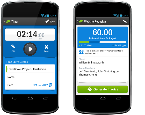 Track time on the go from your Android device and assign it to projects with FreshBooks for Android