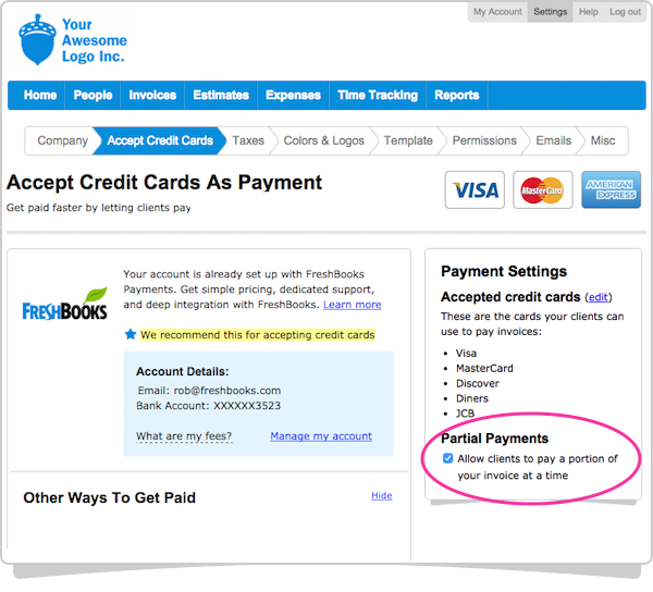 Accept Credit Cards Checkbox on the Right Side