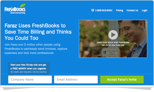 This is where your friend will go to sign up for FreshBooks