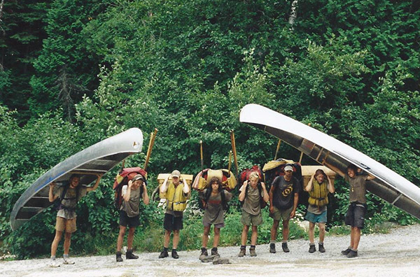 Mike McDerment, far left, on a canoe trip, approximately Day 35 of 40.