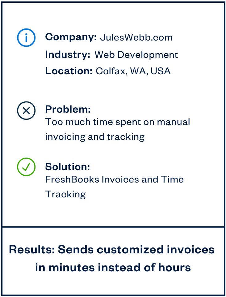 Jules Webb freelance web developer sidebar