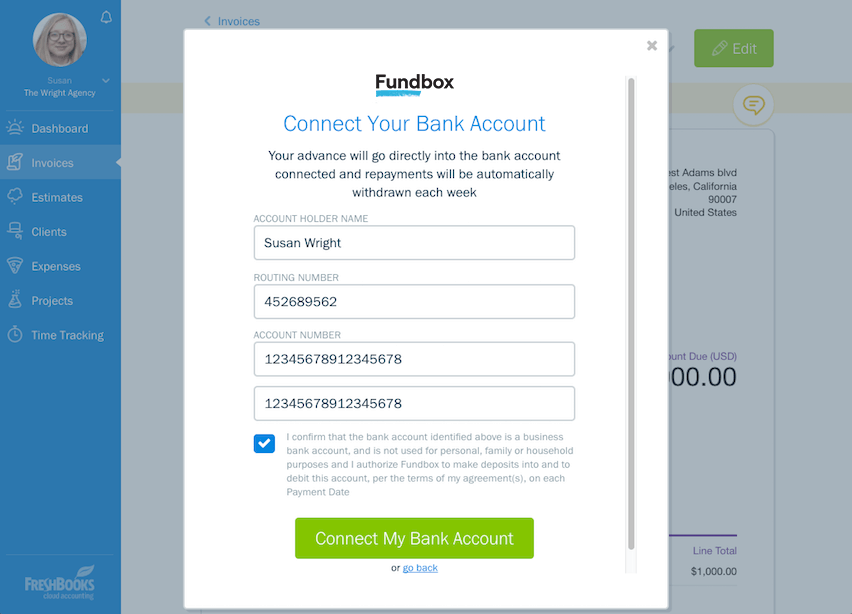 Unpaid Invoices Connect Bank Account