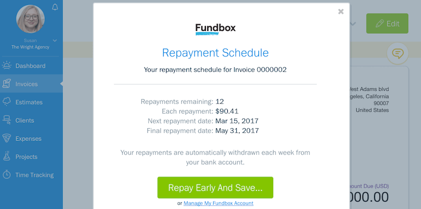 Unpaid Invoices Repay Schedule