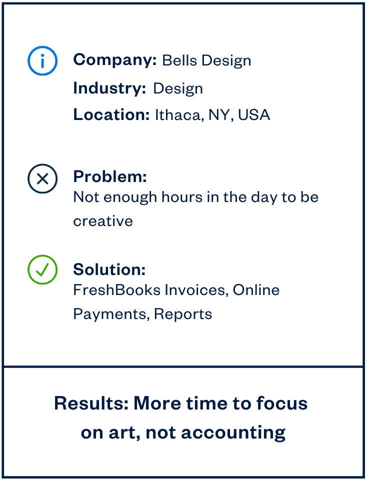 Bells Design accounting solution sidebar