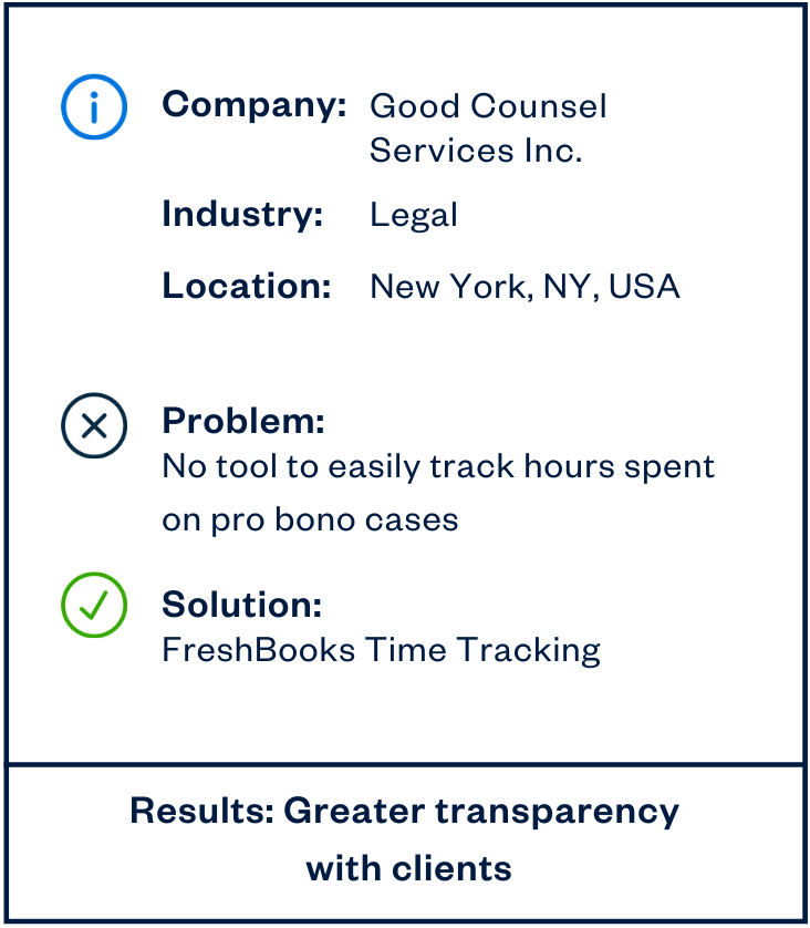 Good Counsel Services Inc. legal services professionals sidebar
