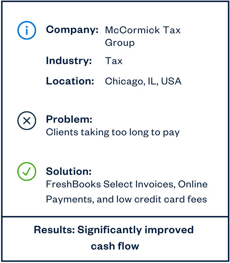 McCormick Tax Group cash flow sidebar
