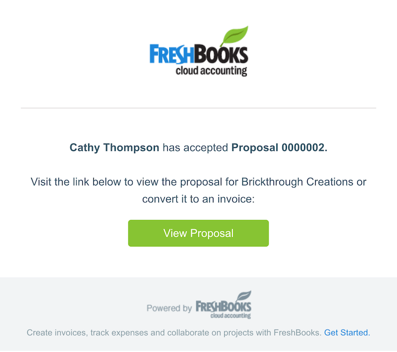 freshbooks product updates: estimate accepted email