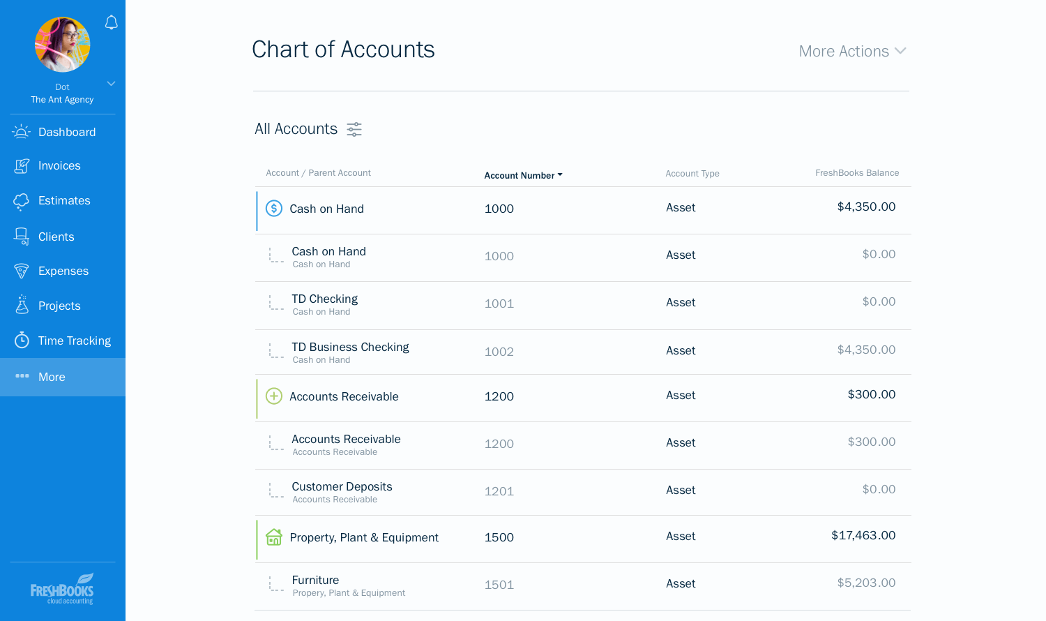 freshbooks chart of accounts