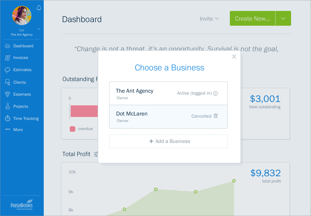 FreshBooks updates