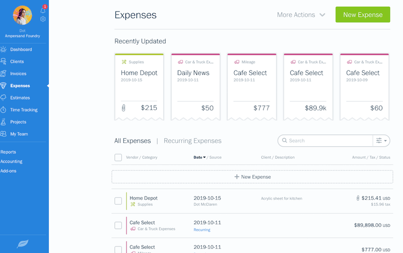 freshbooks expense tracking