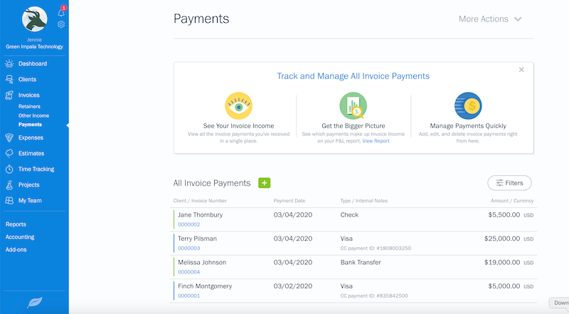 payments page freshbooks