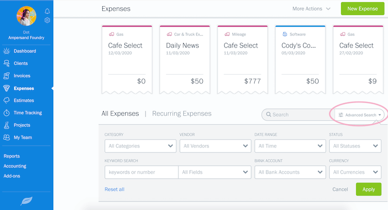 advanced search expenses