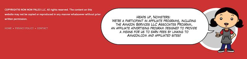 affiliate marketing - disclaimer