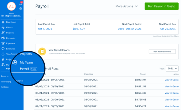 FreshBooks Payroll screen showing Gusto integration