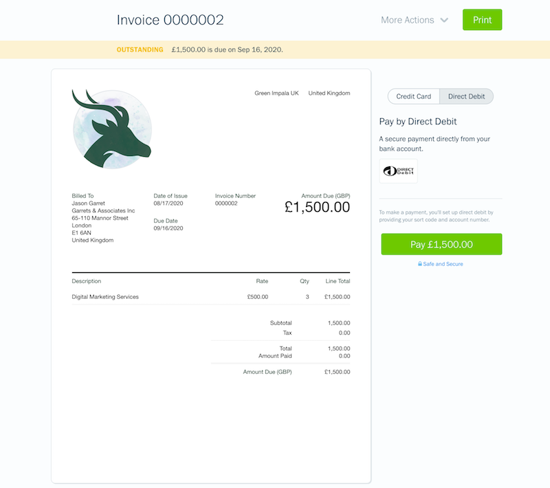 Step 1 Client View of Direct Debit Invoice