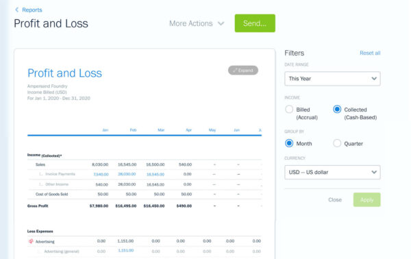 screenshot of profit and loss P&L report