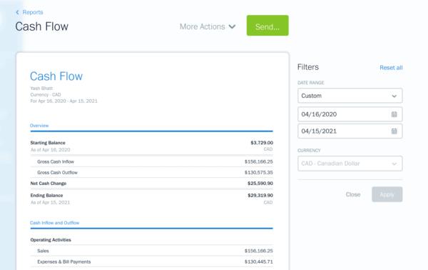 screenshot of Cash Flow Report in FreshBooks