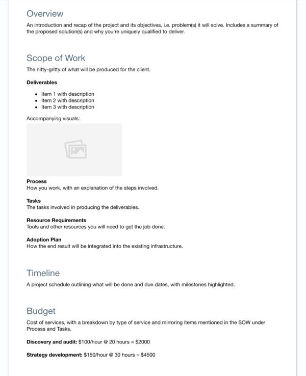 FreshBooks proposal layout example