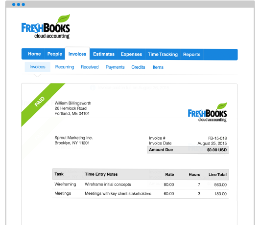 Send invoices with FreshBooks