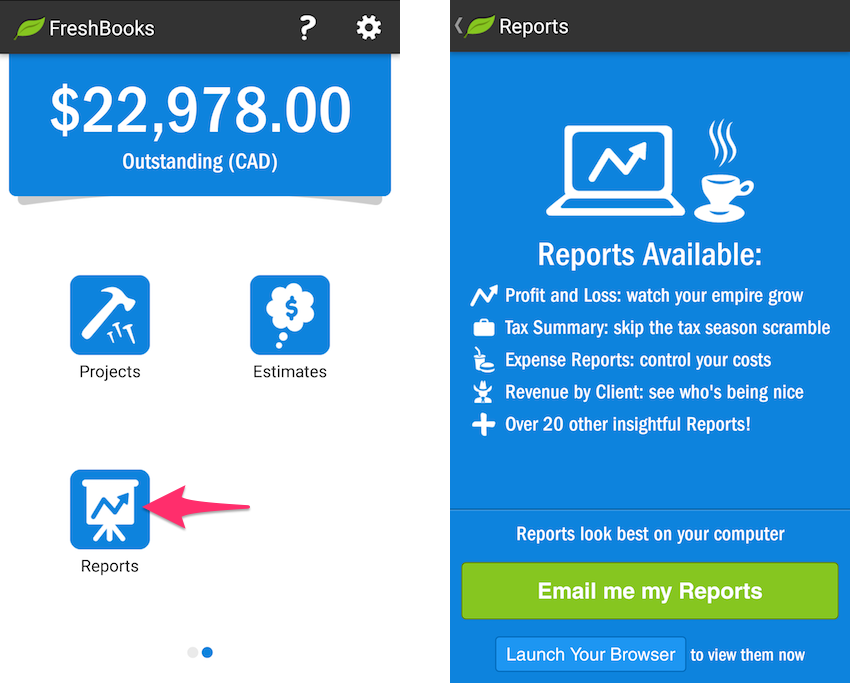 Android app showing Reports section with option to email reports or view reports on browser app.