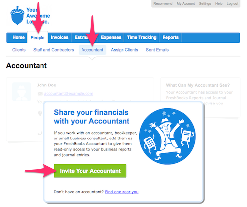 Invite your accountant button.