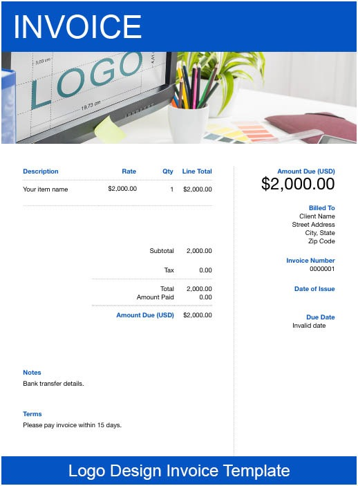 invoice template for logo designers