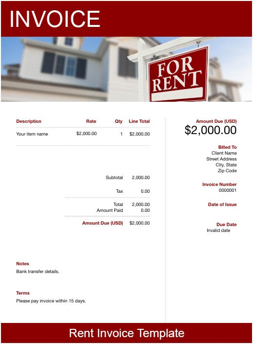 invoice template for rental
