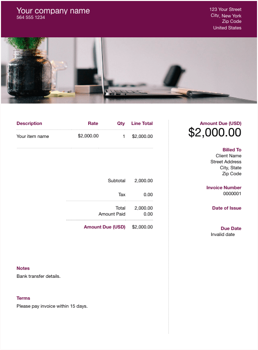 sample invoice template with desk
