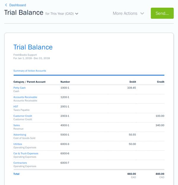 Trial balance report sample