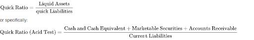 Formula for acid test ratio