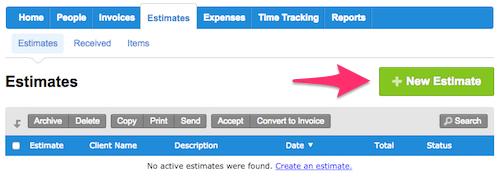 FreshBooks has online estimating software