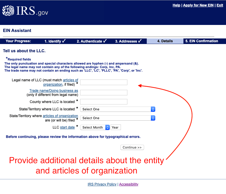 Screenshot of step 4, page 8 of the online EIN application. Provide information about your entity found on your articles of organization.