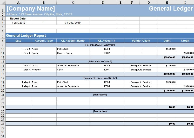 Free General Ledger Template